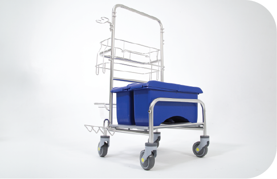Saturix stainless steel cleaning cart with charging bucket side front view alternate picture
