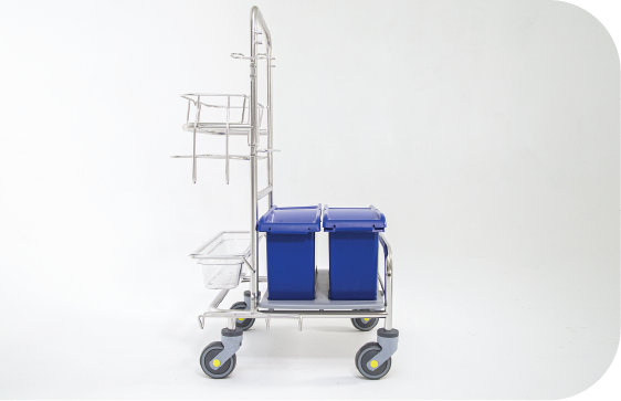 Saturix stainless steel cleaning cart with charging bucket side view