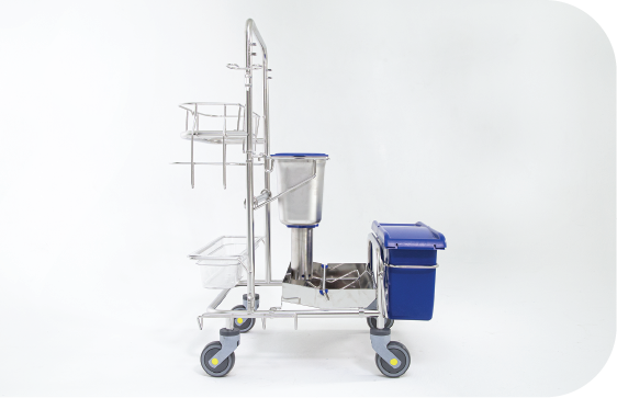 Side view of Saturix Cleaning Cart with Hands-Free Mop Drop System and our Precision Dosing System