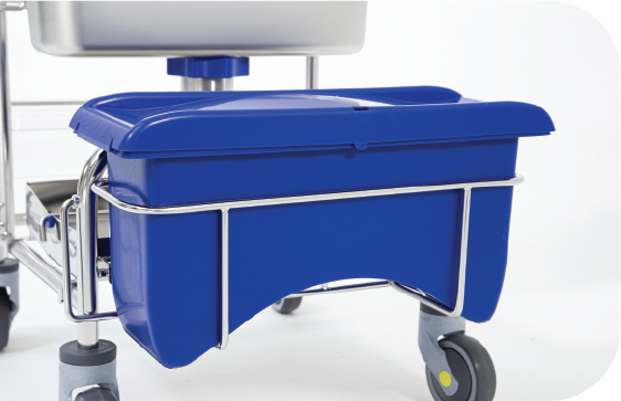 A front view of our the Saturix plastic charging bucket system