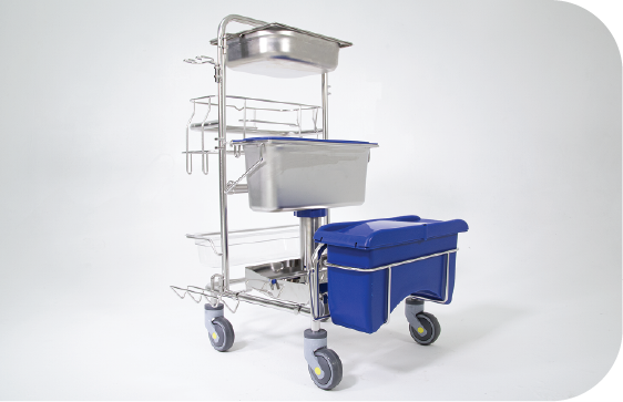 Front side view of Saturix Cleaning Cart with Hands-Free Mop Drop System and our Precision Dosing System
