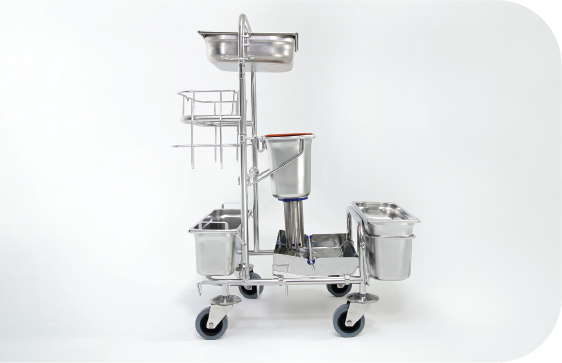 Side view of the Saturix stainless steel cart with precision dosing system with auto-clavable capabilities