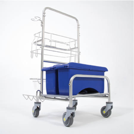 Saturix stainless steel cleaning cart with charging bucket side front view