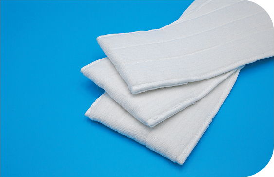 Heavy weight cleanroom pocket mops with extreme durability, absorbency and surface coverage.